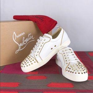 Christian Louboutin White Gold Spike Toe sneakers
